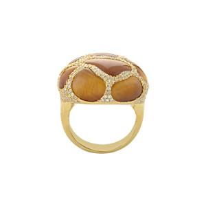 18K Yellow Gold Tiger's Eye Diamond Ring