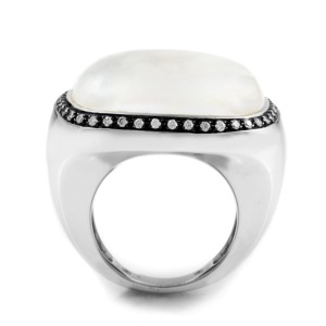 18K White Gold Moonstone & Diamond Ring