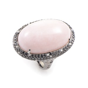 18K White Gold Diamond & Pink Quartz Ring