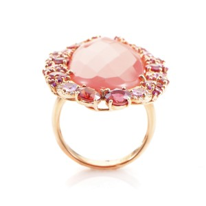 18K Rose Gold Pink Gemstone & Diamond Ring