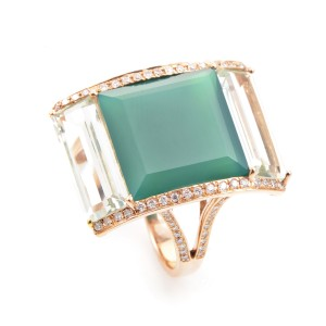French Collection 18K Rose Gold Diamond & Gemstone Ring
