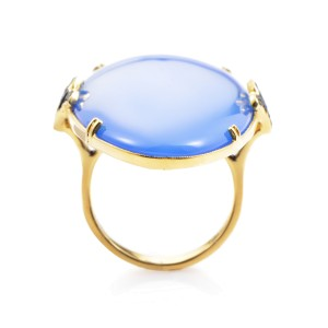 French Collection 18K Yellow Gold Tsavorite and Blue Agate Ring