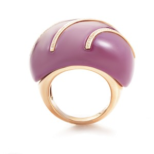 French Collection 18K Rose Gold Pink Turquoise & Diamond Ring