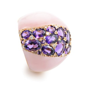 French Collectiion18K Rose Gold Pink Quartz & Diamond Ring