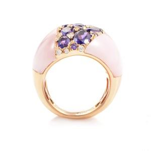 French Collectiion18K Rose Gold Pink Quartz & Diamond Ring