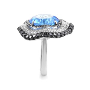 French Collection 18K White Gold Diamond & Topaz Ring