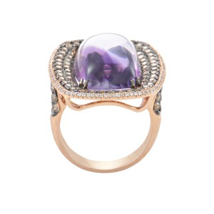 18K Rose Gold Amethyst & Diamond Ring