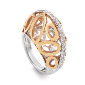 Oro Trend 18K Yellow & White Gold Diamond Ovals Band Ring