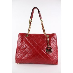 Michael Kors Quilted Red Leather MK Charm Susannah Chain Shopper Tote Bag 19MK1229