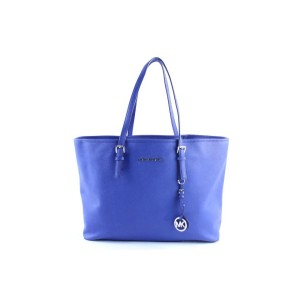 Michael Kors Jet Set Travel Top Zip Multifunction Tote 3mr0327 Blue Leather Shoulder Bag