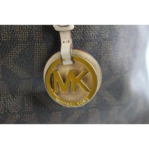 Michael Kors Monogram Jet Set 12mke0108 Brown Coated Canvas Tote