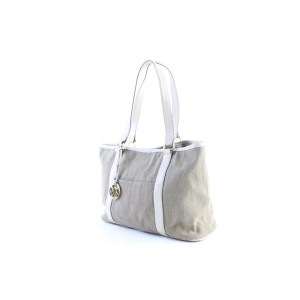Michael Kors Shopper Tote 5mr0327 Beige X White Canvas Shoulder Bag
