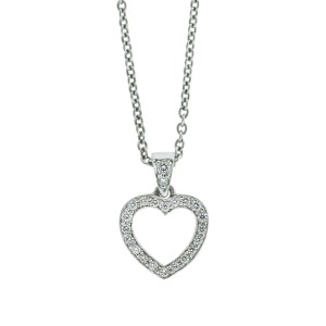 Tiffany & Co. Platinum and Diamond Open Heart Necklace