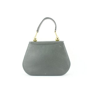 Mila Schon Grey Leather Top Handle Chain Flap Bag 673mil318