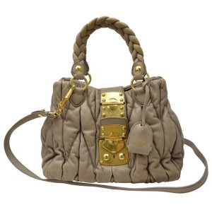 Miu Miu 866513 Beige/Mauve Quilted 2way Tote Beige Leather Shoulder Bag