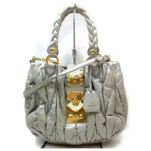 Miu Miu Hobo Quilted 2way Braided 872936 Gray Leather Shoulder Bag