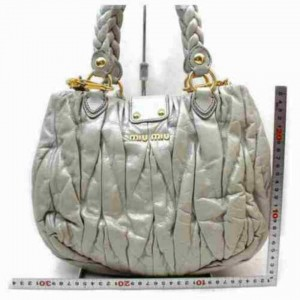 Miu Miu Quilted Grey Leather 2way Hobo Braided 872936