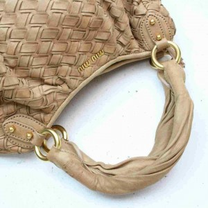 Miu Miu Hobo Woven 872994 Brown Beige Leather Satchel