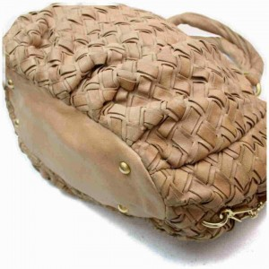 Miu Miu Woven Leather Hobo Brown Beige Leather 872994