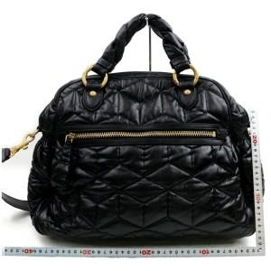 Miu Miu Quilted 2way Bowler 872555 Black Leather Satchel