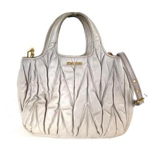 Miu Miu Quilted 2way Tote 20miu61 Grey-beige Lambskin Leather Shoulder Bag
