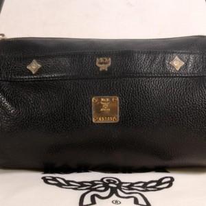Miu Miu Studded Cyllinder Boston 868837 Black Leather Shoulder Bag