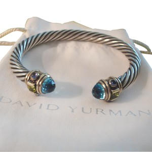 Classic David Yurman Blue Topaz and Peridot Cable Bracelet