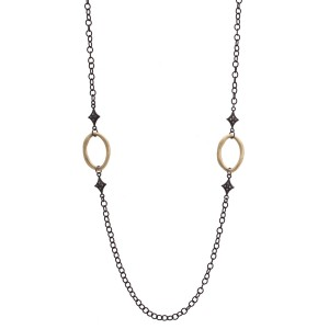 Armenta Old World 18k Yellow Gold Blackened Sterling Silver Champagne Diamonds Necklace