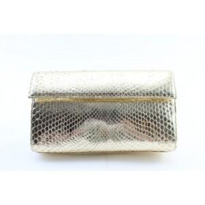 Nancy Gonzalez Gold Python Metallic Clutch 7MR0215