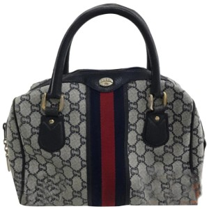 Other Navy Supreme Sherry Monogram Web Boston 228734 Blue Coated Canvas Satchel