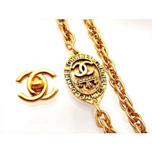 Vintage Chanel Necklace Oval Medal CC Logo