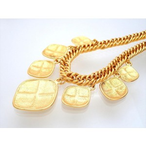 Vintage Chanel Necklace Quilted Rhombus Charms