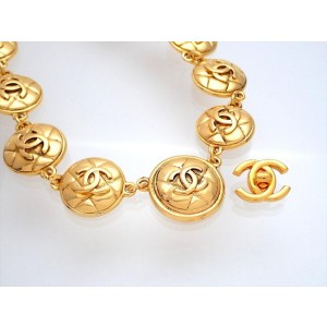 Vintage Chanel Necklace Multiple Quilted Round CC Logo