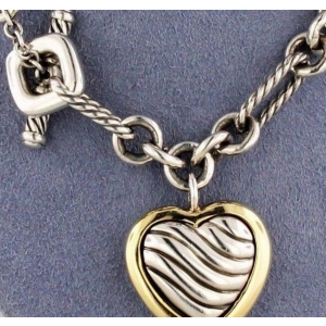 David Yurman 18K Yellow Gold & Sterling Silver Cable Heart Figaro Necklace