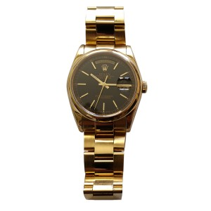Rolex Oyster Perpetual Chronometer 18K Gold Black Dial Watch