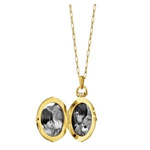 "Monica Rich Kosann Yellow Gold Snowflake Locket W/ .32ct Diamond Accents on 17"" Chain"