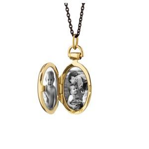 Monica Rich Kosann Yellow Gold Anna Petite Locket on a Black Steel Chain