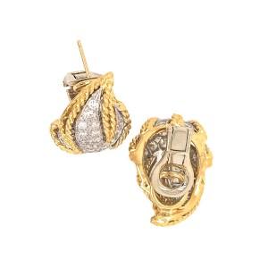 Estate 18k Yellow Gold Leaf Diamond Earrings