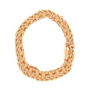 Estate 14k Yellow Gold Wide Diamond Bracelet