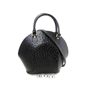 Octagon Shell with Strap 237652 Black Ostrich Leather Satchel
