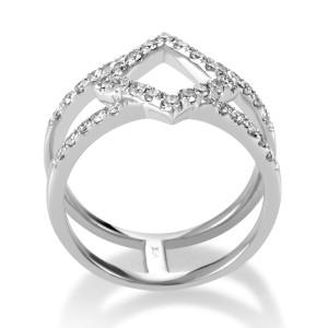 Odelia 18K White Gold Openwork Diamond Band Ring