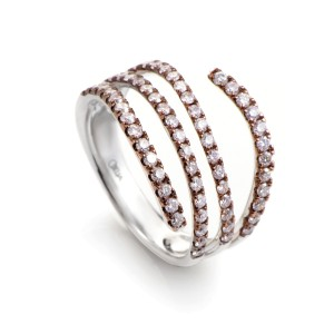Odelia 18K Multi-Tone Gold & Diamond Band Ring