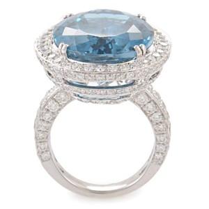 Odelia 18K White Gold Topaz & Diamond Cocktail Ring