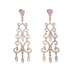 Odelia 18K Rose Gold Diamond Chandelier Earrings