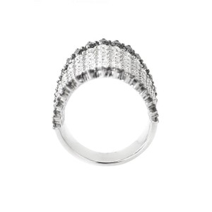Odelia 18K White Gold Black & White Diamond Long Band Ring