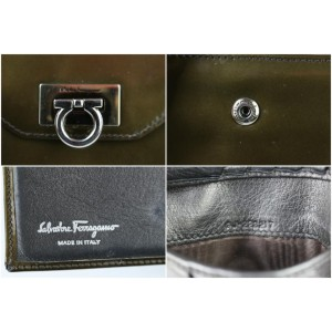 Olive Green Patent Gancini Flap Logo wallet 1MJ1021