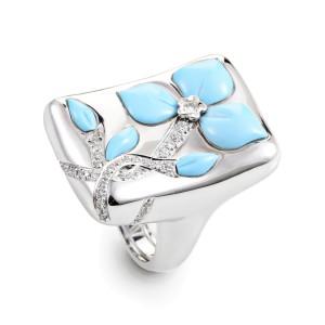 Oro Trend 18K White Gold Diamond & Turquoise Flower Ring