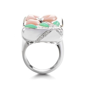 Oro Trend 18K White Gold Multi-Gem Floral Ring