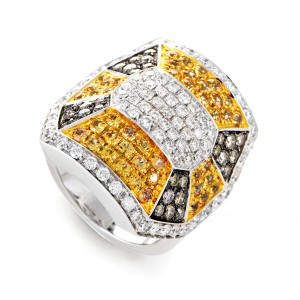 Oro Trend 18K White Gold Diamond & Yellow Sapphire Ring