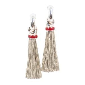 Tiffany & Co. Sterling Silver Red Enamel Multi Strand Drop Dangle Earrings